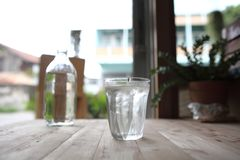 Water in glass on the table. In close up royalty free stock images