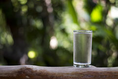 Water glass on wooden. Royalty Free Stock Photo