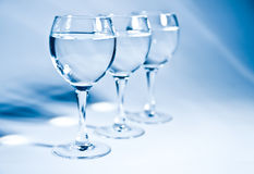 Water glasses. 3 beautiful blue water glasses Royalty Free Stock Photo