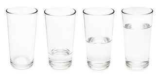 Water glasses. Set of water glasses. Empty, half and full. Isolated on white background Stock Image