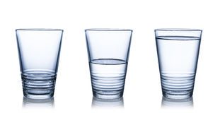 Water glasses on white Royalty Free Stock Photo