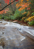 Water glides over rocks in Pisgah Forest Stock Images