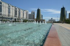 Water Green Boulevard in Astana Stock Images