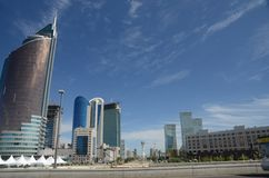 Water Groene Boulevard in Astana Royalty-vrije Stock Afbeelding