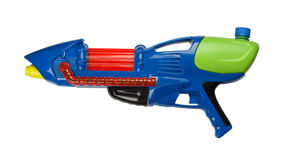 Water gun. Blue plastic water squirt gun isolated on white royalty free stock photography