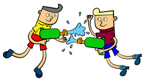 Water gun. An illustration of two boys happily playing with their water gun royalty free illustration