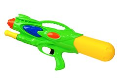 Water gun. Plastic water gun isolated on white background royalty free stock photo