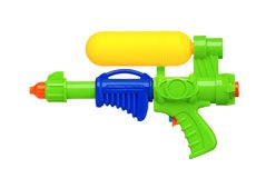 Water gun. Plastic water gun isolated on white background stock photography