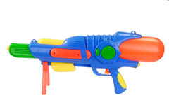 Water gun. Colorful water gun isolated on a white background stock photo