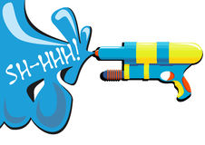Water gun. Vector illustration of colorful water gun with splashing water from it drawn in a pop art style Royalty Free Stock Photo