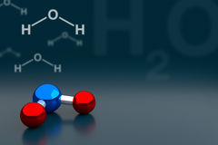 Water or H2O Molecule Background, 3D Rendering Stock Photo