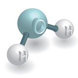 Water H2O. Molecule vector illustration isolated over white background Stock Photos