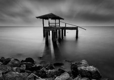 The water hall at the stone beach in black and white, Thailand Royalty Free Stock Photos