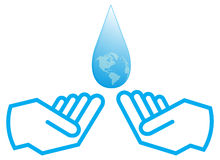 Water with hand. Detail of water with hand designed by illustrator Stock Photos