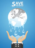 Water and hand.Concept of environmental protection Royalty Free Stock Images