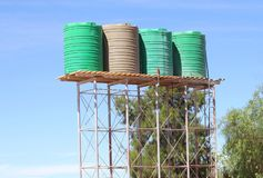 Water harvesting rainwater storage tanks, Africa Stock Photo