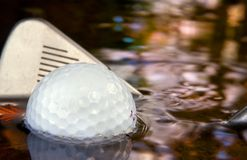 Water Hazard. Golf water hazard and making a come back Stock Photo