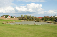 A Water Hazard at a Beautiful Golf Course in Europe Stock Images
