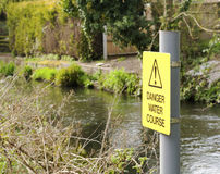 Water hazard sign. Warning sign danger water course- health and safety royalty free stock images