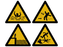 Water hazard signs. Strong currents, large waves, deep water and thin ice Royalty Free Stock Photos