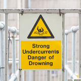 Water hazard signs. Strong undercurrents, danger of drowning Royalty Free Stock Photo