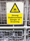 Water hazard signs. Strong undercurrents, danger of drowning Royalty Free Stock Image