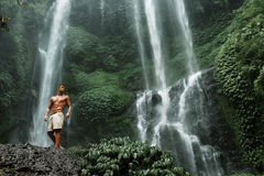 Water. Healthy Man With Sexy Body Near Waterfall. Healthcare Royalty Free Stock Photo