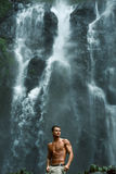 Water. Healthy Man With Sexy Body Near Waterfall. Healthcare Royalty Free Stock Photography