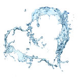 Water heart. Over white background Royalty Free Stock Photo