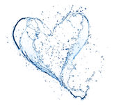 Water heart. Heart symbol made of water splashes, isolated on white backgound Royalty Free Stock Image