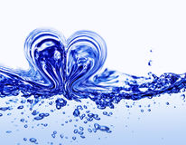 Water heart. With many small bubbles Stock Photos