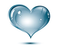 Water heart. Blue glossy water heart, nature concept, love for nature Stock Photography