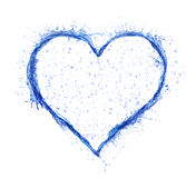 Water Heart. Blue water splash heart isolated on white background. Love symbol Stock Photos