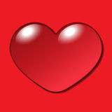 Water Heart Drop on red background Royalty Free Stock Image