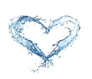 Water heart. Water splash heart isolated on white background Stock Image