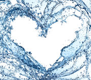Water heart. Water splash heart isolated on white background Stock Photos