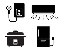 Water heater, air conditioner, rice cooker icons Stock Photo