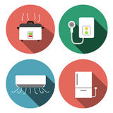 Water heater, air conditioner, rice cooker icons Royalty Free Stock Photography