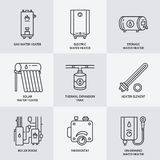 Water heater, boiler, electric, gas, solar heaters and other house heating equipment line Stock Image