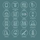 Water heater, boiler, thermostat, electric, gas, solar heaters and other house heating equipment line icons. Thin linear. Pictogram with editable strokes for stock illustration