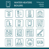 Water heater, boiler, thermostat, electric, gas, solar heaters and other house heating equipment line icons. Thin linear Royalty Free Stock Images