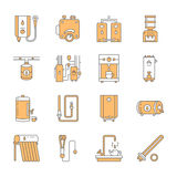Water heater, boiler, thermostat, electric, gas, solar heaters and other house heating equipment line icons. Thin linear. Pictogram for hardware store royalty free illustration
