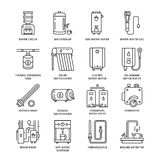Water heater, boiler, thermostat, electric, gas, solar heaters and other house heating equipment line icons. Thin linear. Pictogram for hardware store stock illustration