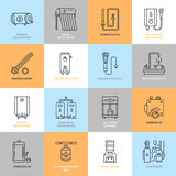 Water heater, boiler, thermostat, electric, gas, solar heaters and other house heating equipment line icons. Thin linear Royalty Free Stock Photography