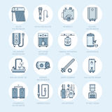 Water heater, boiler, thermostat, electric, gas, solar heaters and other house heating equipment line icons. Thin linear. Pictogram with editable strokes for Stock Photos