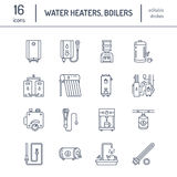 Water heater, boiler, thermostat, electric, gas, solar heaters and other house heating equipment line icons. Thin linear Stock Photography