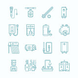 Water heater, boiler, thermostat, electric, gas, solar heaters and other house heating equipment line icons. Thin linear Royalty Free Stock Photo