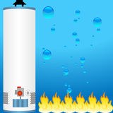 Water heater with element icons. A 3D boiler water heater with water and fire as background Royalty Free Stock Photos