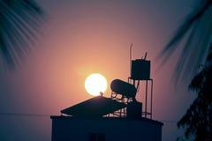 Water heater solar panel Stock Photo