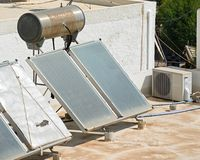 Water heating panels, Crete. Stock Images